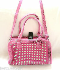 NEW-DS PINK CROC LEATHERETTE+CRYSTAL STUD+SILVER SATCHEL,PURSE,BAG+CROSSBODY