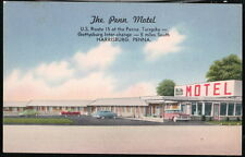 HARRISBURG PA Penn Motel Route 15 Vtg Linen Postcard Old Turnpike PC