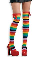 Rainbow Thigh High women stocking stripe socks dance club costume clown perform