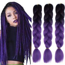 "5 Packs 24"" Ombre Black Purple Kanekalon Jumbo Braiding Synthetic Hair Extension"