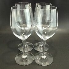 """Set of 4 SIGNED Burgundy/White Wine Crystal Glasses by RIEDEL 7 7/8"""" Tall EUC!"""