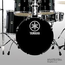2x Yamaha Logo Sticker Decal - fork bass drum Head Drums kit Percussion Skin car