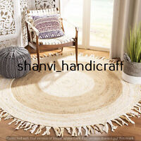 Braided Natural & Multi Colour Jute Reversible Round Cotton Rug Floor Decor Rags