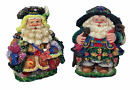 Pair of Crinkle Claus Paris and Madrid Christmas Collectible Figurines