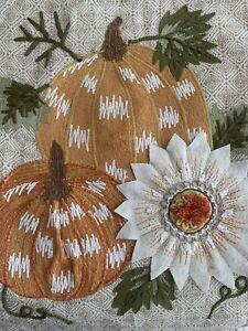 Haymarket Square Jute Embroidered Pumpkin Sunflower Table Runner 16 X 72