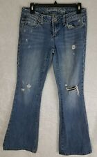 American Eagle Womens Size 4 Regular Real Flare Distressed Jeans