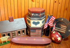 Americana Folk Art, Primitive Home Decor Collection, Red, White and Blue