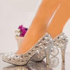 "Silver Rhinestone Crystal Diamond Wedding Shoes Bridal High Heels Pumps 8.5cm/3"""