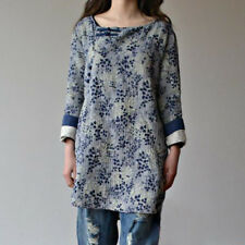 Ladies Linen Floral Printing Blouse Long Sleeve Crew Neck Button Pullover Shirt