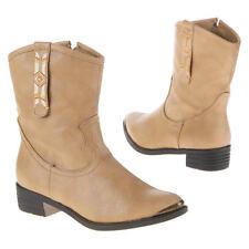 Westernstiefel - Stiefeletten - Gr. 38 - beige - Cowboystiefel - Leder Look