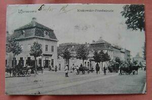Poland Warsaw Krakowskie street scene used 1905