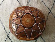 Moroccan pouffe light brown handmade
