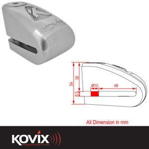 KOVIX KAL 10mm MOTORCYCLE MOTORBIKE BIKE SCOOTER DISC LOCK 120db ALARM