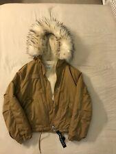 Jacket Bershka short parka with faux fur hood in khaki brown size S