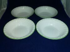 "4 Corelle CHUTNEY Swirl  Soup  Cereal Bowls 7 1/4"" green rim Callaway Ivy too"