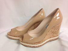 "Prada """"Vern Cork"" Peep Toe Wedge Beige 9.5 M Patent Leather New in Box"