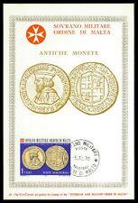 MALTESERORDEN SMOM S.M.O.M. MK 1968 MÜNZEN COINS MAXIMUMKARTE MAXI CARD MC cv69