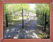 Driveway Entry Gate 12ft Wide Single Swing, Handrail, Steel - Iron
