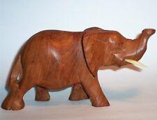 Old ELEPHANT Hand Carved Wood Art Sculpture Statue Figurine Vintage Antique VG