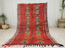 "Moroccan Handmade Vintage Carpet 3'9""x6'3"" Red Blue Tribal Berber Wool Rug"