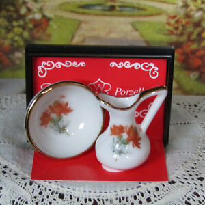Vtg Dollhouse REUTTER PITCHER BOWL Miniature Gold Floral Porcelain Dish Dishes