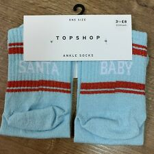TOPSHOP - 'Santa Baby' Socks One Size Ladies Christmas Glittery Cute Blue