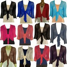 Womens Bolero Shrug Ladies 3/4 Sleeve Knitted Tie Up Open Front Cardigan Top