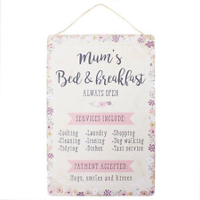 Mum's Bed & Breakfast Hanging Sign Wall Plaque Shabby Chic Gift Homeware
