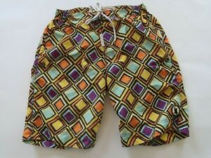 Flow Society Mens Polyester Multi Color Geometric Lacrosse Activewear Shorts S