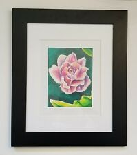 Affordable Original Framed Colored Pencil Drawing of a Rose by Krysta Logan