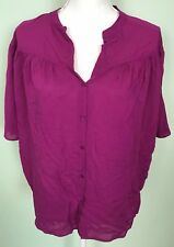 Philosophy Large Button Down Purple Batwings Sleeves 100% Rayon Damaged
