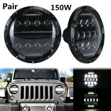 2X 7'' 150W 10920LM LED Headlight With White DRL For Jeep Wrangler Hummber H1 H2