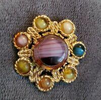 Vintage Scottish theme goldtone Brooch pin kilt glass banded agate stones