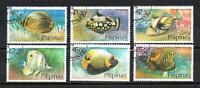 Peces Filipinas (66) serie completo de 6 sellos matasellados