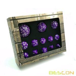 Bescon Complete Polyhedral RPG Dice Set 13pcs D3-D100, 100 Sides Dice Set Purple