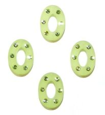 APL266 Peridot Green Swarovski Crystal & Green Resin 16mm Oval Donut Beads