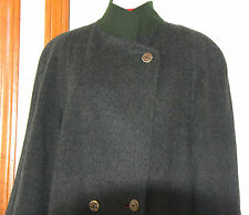 Vintage Ladies Grey Loden Long Coat Overcoat Austria Tyrol - Medium