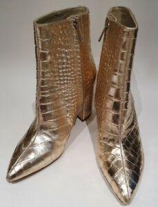 Sam Edelman Gold Ladies Leather Moc Croc Ankle Boot UK 3/4? US6  BNWB Zip Fasten