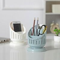 Imitation Rattan Compartment Cosmetics Desktop Remote Control Storage Box AA