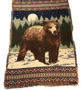 """Bear Moon Tribal Tapestry Throw Fringe Blanket Style 65"""" X 45 Afghan Rustic Tan"""