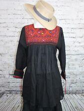Black Handmade Rococo Mexican Tunic Blouse Mini Dress Oaxaca 100% Cotton Small