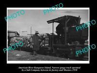 OLD POSTCARD SIZE PHOTO OF AMERICAN RIVER KANGAROO ISLAND SALT Co TRAIN c1930