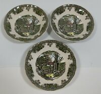 "3 Friendly Village Johnson Brothers The Stone Wall 5"" Berry Bowls Contemporary"