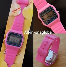 Replacement Casio F-91w Style Wrist Watch Retro Digital -Pink - UK Seller