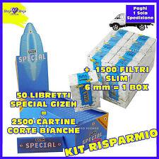 1500 filtri RIZLA SLIM 6mm 1 BOX +  Cartine Special GIZEH  CORTE Bianche 50 pz