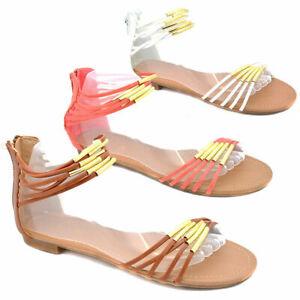 Ladies Womens Sandals Flat Heel Zip Gladiators Style Shoes Summer Beach Casual