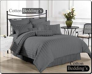 Super Soft New 800-1000-1200 TC 100% Egyptian Cotton Hotel Dark Gray in Striped
