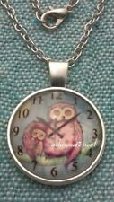 Pretty Pagan Owl & Owlet Clock Glass Dome Pendant Silver Colour Necklace & Chain
