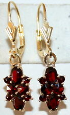 ANTIQUE SILVER GOLD PL SUPERB BOHEMIAN RED GARNET 1.50ct FINE DANGLE EARRINGS
