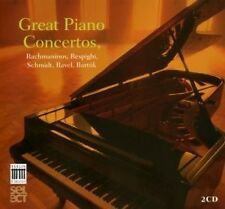 GREAT PIANO CONCERTOS 2 CD NEUF RACHMANINOFF/RESPIGHI/SCHMIDT/RAVEL/BARTOK